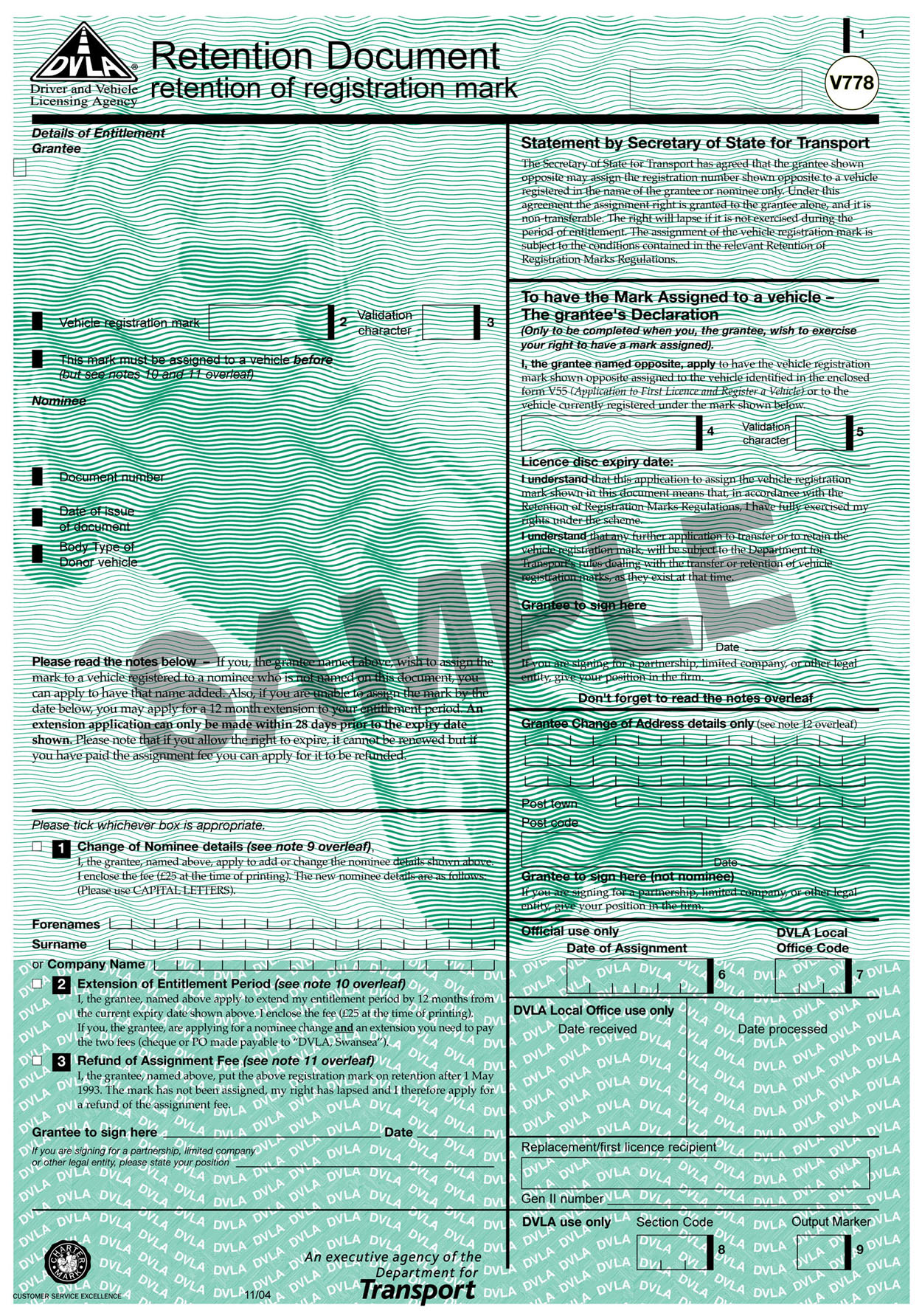 V778 Retention Document