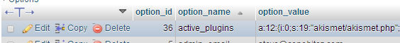 MySQL Active Plugins