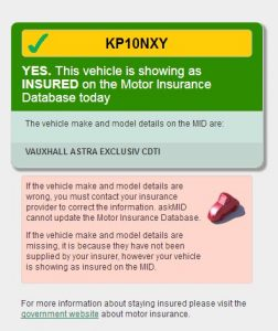 Ask MID (Motor Insurance Database)