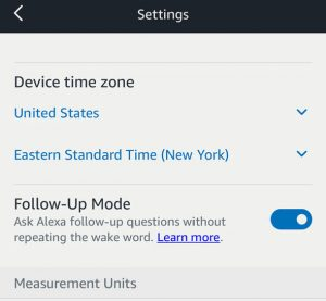 Amazon Echo Follow-Up Toggle in Alexa App